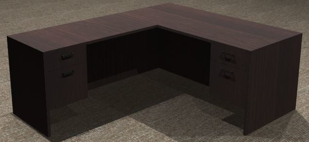 L-Desk 30x66, Rectangular, Left Return 24x48, Suspended Ped