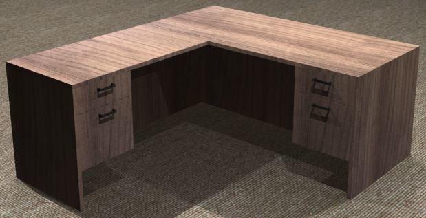 L-Desk 30x66, Rectangular, Left Return 24x42, Supended Ped