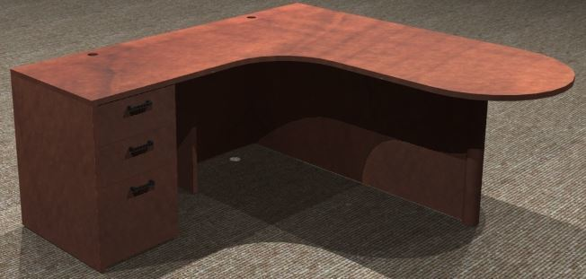 L-Desk 30/42x72, Bullet Shapped CC, Left Return 24x30, Full Ped