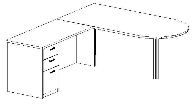 L-Desk 36x72, Peninsula, Left Return 24x48, Single Ped (Min. Office Size 10x12)