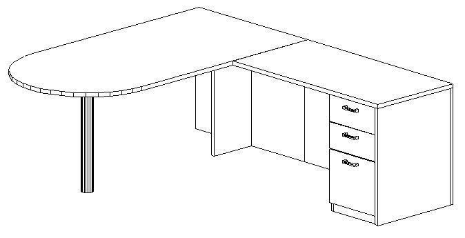 L-Desk 36x72, Peninsula, Right Return 24x48, Single Ped (Min. Office Size 10x12)