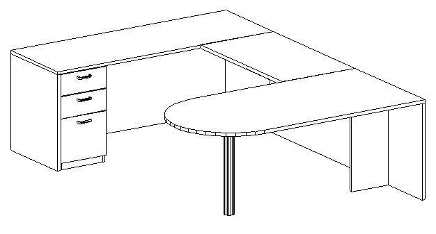 U-Desk, Peninsula, Left Bridge 24x42, Single Ped (Min. Office Size 10x12)