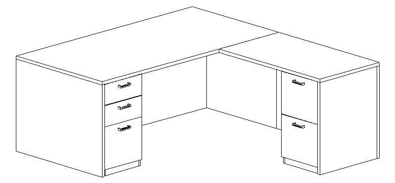 L-Desk 36x72, Rectangular, Right Return 24x42 (Min. Office Size 9x10)