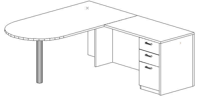 L-Desk 36x72, Peninsula, Right Return 24x42, Single Ped (Min. Office Size 9x12)