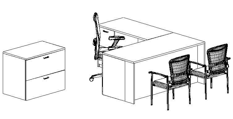 Bundle, L-Desk Left Return, Office & Guest Chairs, Lateral File
