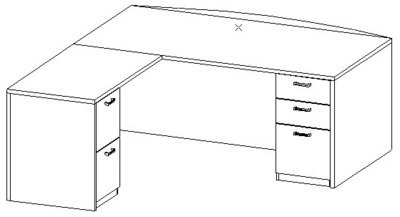 L-Desk 42x72, Bow Front, Left Return 24x42