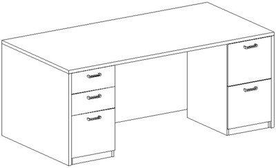 Rectangular Desk 36x72, Double Ped