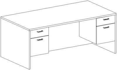 Rectangular Desk 36x72, Double Suspended Peds