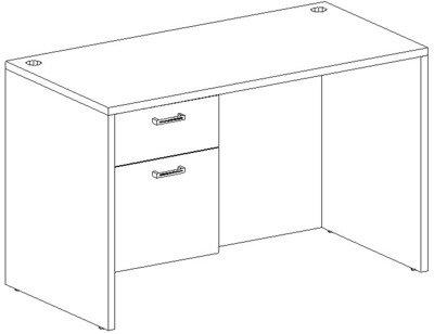 Rectangular Desk 24x48, Single Suspended Ped