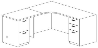 L-Credenza 24/36x72, Left Return 24x36, Double Ped (Min. Office Size 8x10)