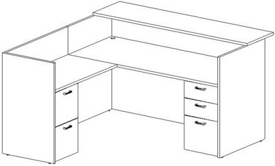 Reception L-Desk 36x72 w/Wood Transaction Top, Left Return 24x42, Double Ped