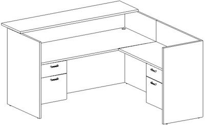 Reception L-Desk 36x72 w/Wood Transaction Top, Right Return 24x42, Suspended Ped