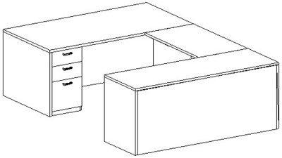 U-Desk, Rectangular, Right Bridge 24x42, Double Ped (Min. Office Size 10x12)