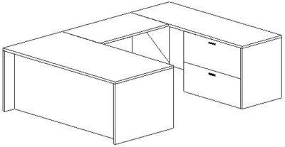 U-Desk, Rectangular, Right Bridge 24x42, Lateral File