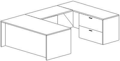 U-Desk, Rectangular, Right Bridge 24x48, Lateral File