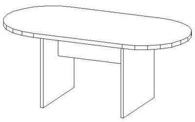 6ft Conference Table, Racetrack  (36