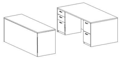 Executive Desk 36x72 and Credenza 24x72 (Min. Office Size 10x12)