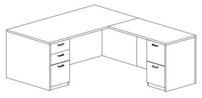 L-Desk 36x72, Rectangular, Right Return 24x48 (Min. Office Size 10x10)