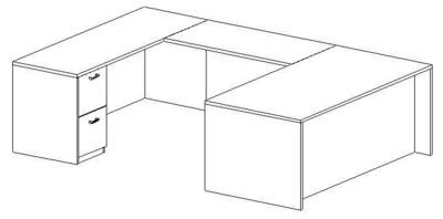 U-Desk, Rectangular, Left Bridge 24x48, Double Ped (Min. Office Size 10x12)