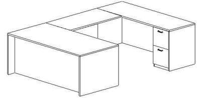 U-Desk, Rectangular, Right Bridge 24x48, Double Ped (Min. Office Size 10x12)