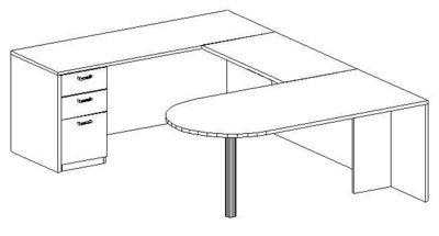 U-Desk, Peninsula, Left Bridge 24x42, Single Ped (Min. Office Size 10x12)