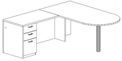 L-Desk 36x72, Peninsula, Left Return 24x42, Single Ped (Min. Office Size 9x12)