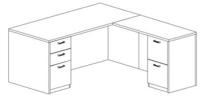 L-Desk 30x66, Rectangular, Right Return 24x42 (Min. Office Size 9x10)
