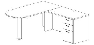 L-Desk 30x60, Peninsula, Right Return 24x42, Single Ped (Min. Office Size 8x10)