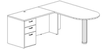 L-Desk 30x60, Peninsula, Left Return 24x48, Single Ped (Min. Office Size 9x10)