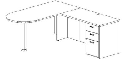 L-Desk 30x60, Peninsula, Right Return 24x48, Single Ped (Min. Office Size 9x10)