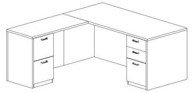 L-Desk 30x66, Rectangular, Left Return 24x48 (Min. Office Size 9x10)