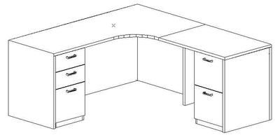 L-Credenza 24/36x72, Right Return 24x36, Double Ped (Min. Office Size 8x10)