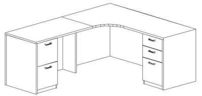 L-Credenza 24/36x72, Left Return 24x42, Double Ped (Min. Office Size 9x10)