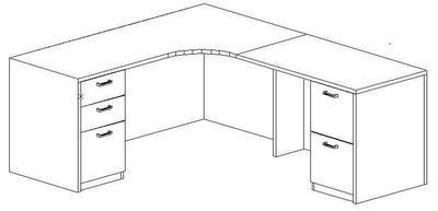 L-Credenza 24/36x72, Right Return 24x42, Double Ped (Min. Office Size 9x10)