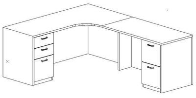 L-Credenza 24/36x72,Right Return 24x48, Double Ped (Min. Office Size 9x10)