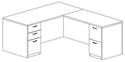 L-Desk 30x66, Rectangular, Right Return 24x48 (Min. Office Size 9x10)