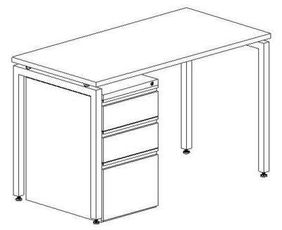 Workstation Desk, 24x48, With Mobile Pedestal