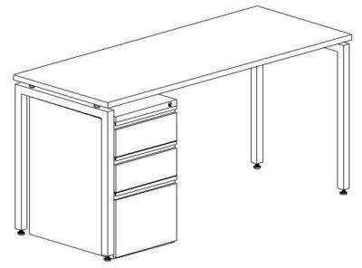 Workstation Desk, 24x60, With Mobile Pedestal
