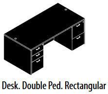 Double Pedestal Desk, 30 x 60