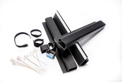 Cable Management Bundle Includes: Wire Raceway Channels, Adhesive Cable Organizer Clips, Reusable Nylon Zip Ties, Velcro Ties, and Label Tags (Large)