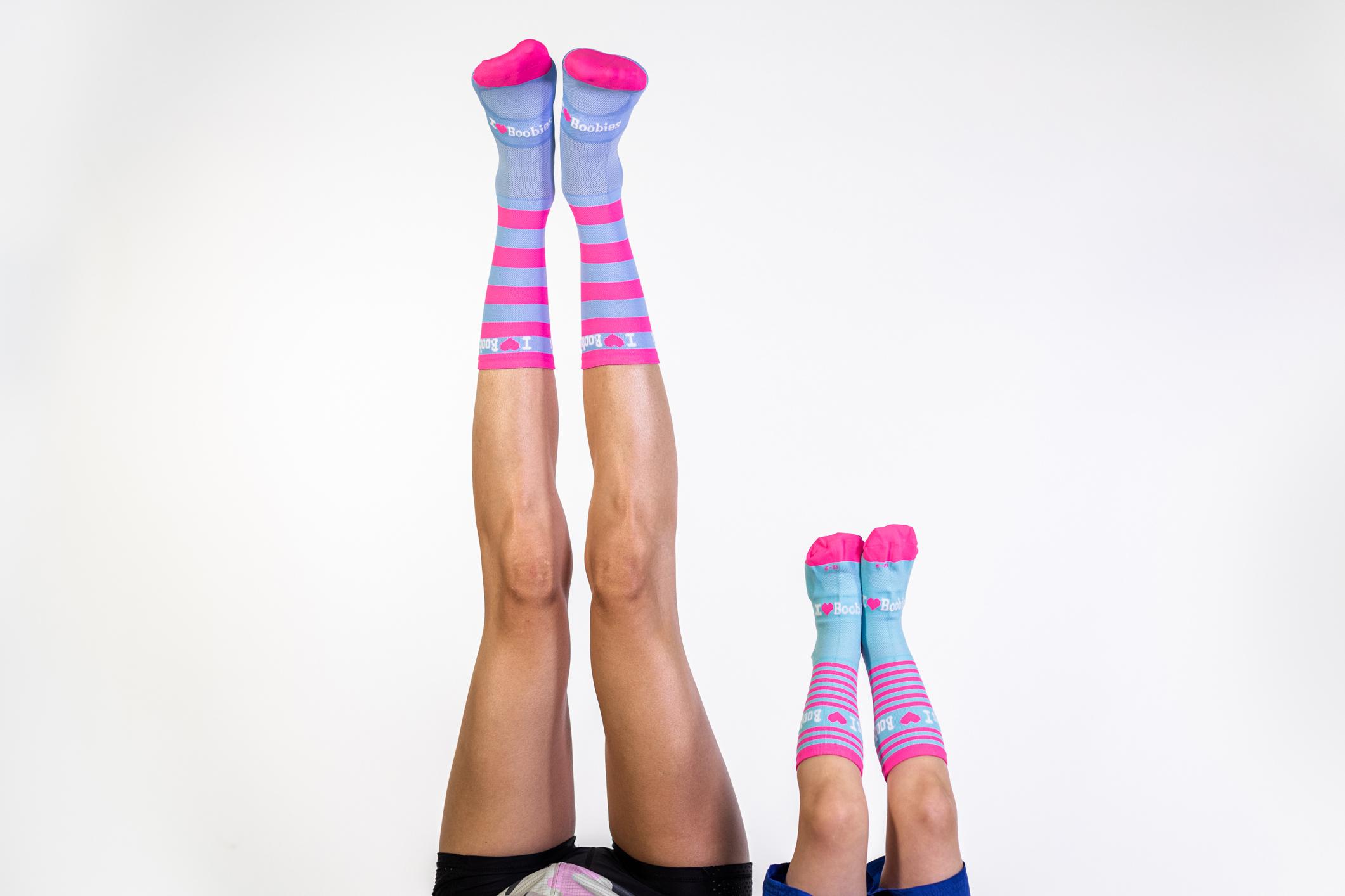 Kiddies Pink & Blue Striped Socks P014