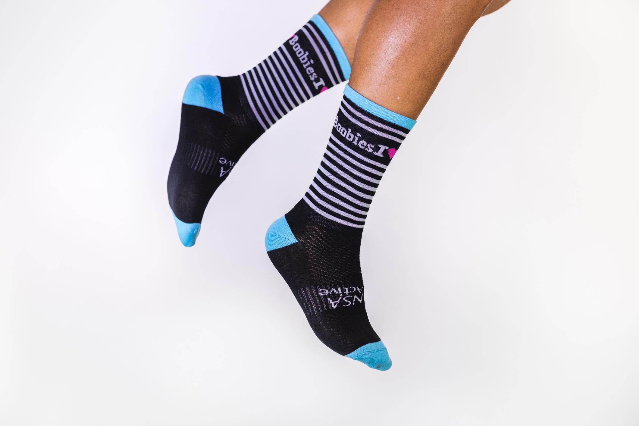 Black & White Striped Socks P006