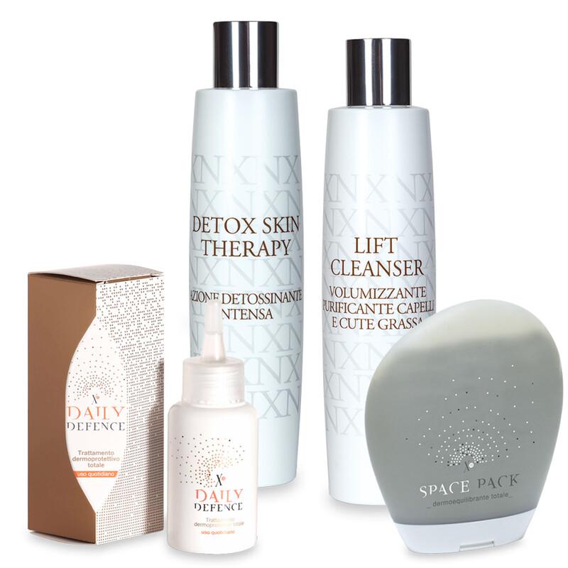 Trattamento cute grassa: XN Space Pack + XN Lift Cleanser + XN Detox Skin Therapy + XN D-D Daily Defence