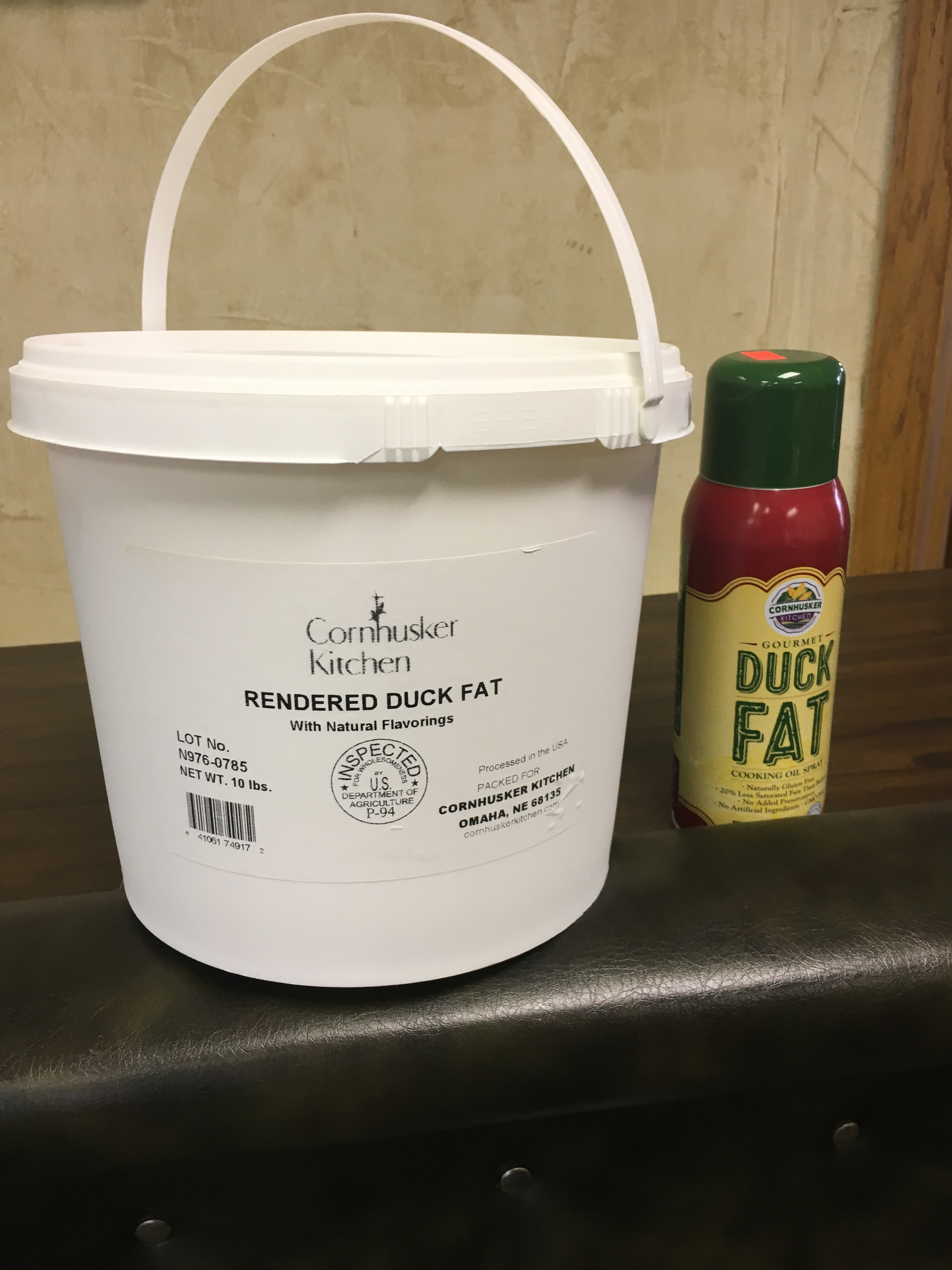 duck fat bucket and spray