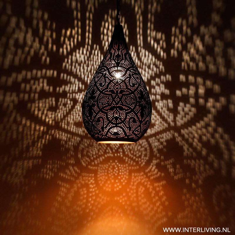 hanglamp druppel model filigrain stijl met zwarte buitenkant