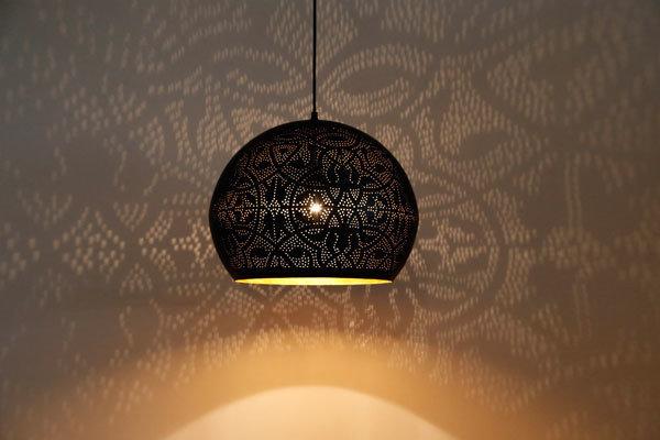 Wonderbaar Hanglamp bol filigrain-stijl XL metaal mat zwart finish met MO-15