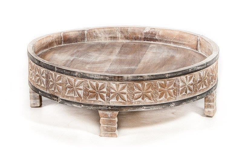Rond Tafeltje Antiek.Vooruitbestelling Houten Gekerfde Chakki Tafel Uit India Antiek Grey Washed