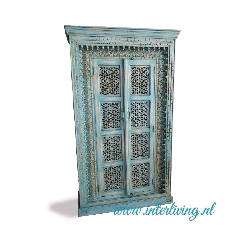 Massief Mango Houten Kast Antiek Blauw Met Houtsnijwerk Uit India Hoog Model 18910941 Cm