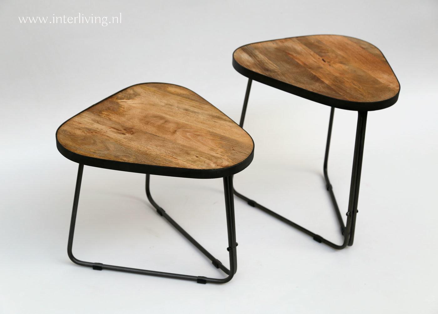 Rond Driepoot Tafeltje.Industriele Driepoot Bijzettafels Set Van Twee Retro Tafeltjes Mangohout Met Metalen Frame