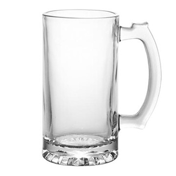 Etched 26oz glass stein